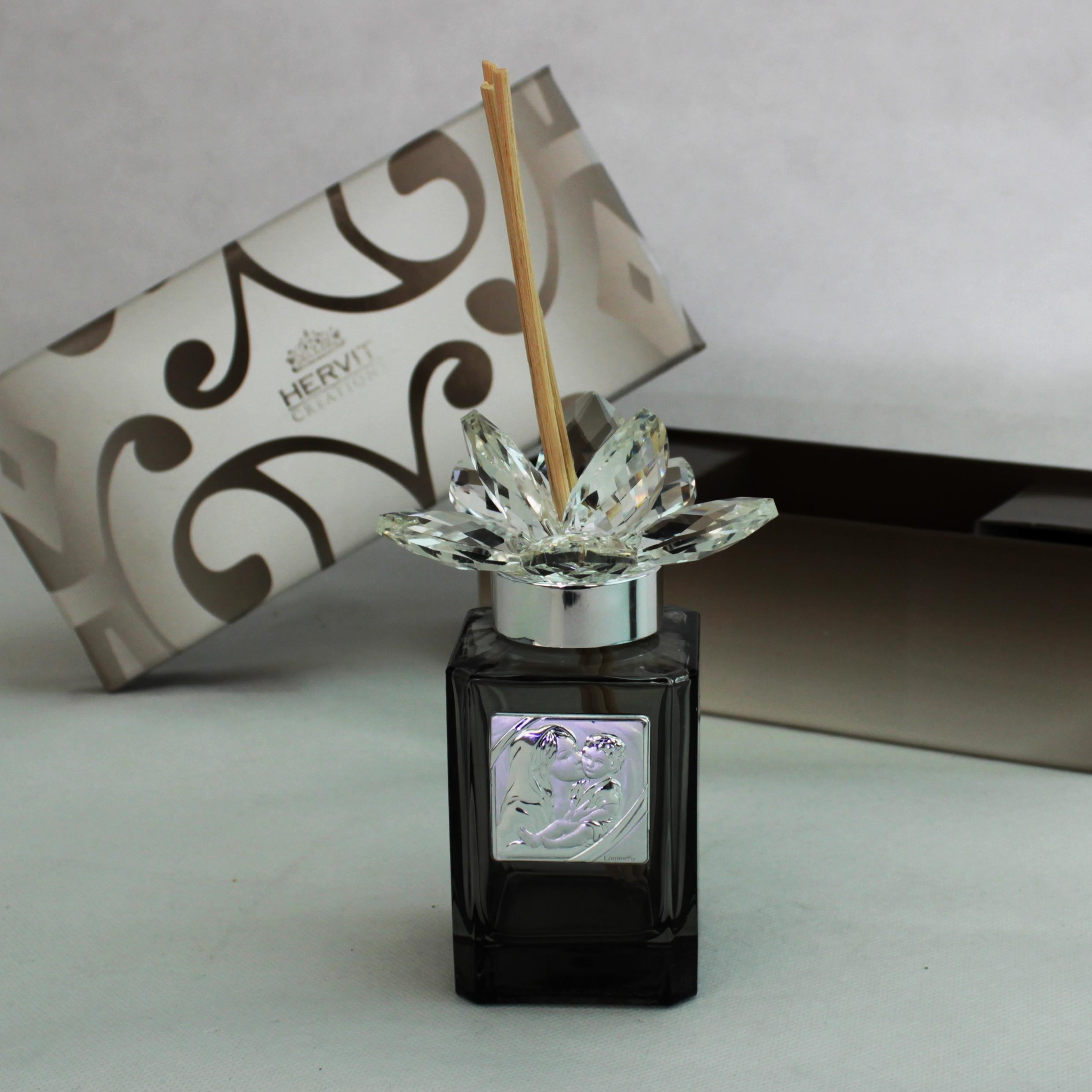 Profumatore Hervit con fiore in cristallo Madonna con Bambino