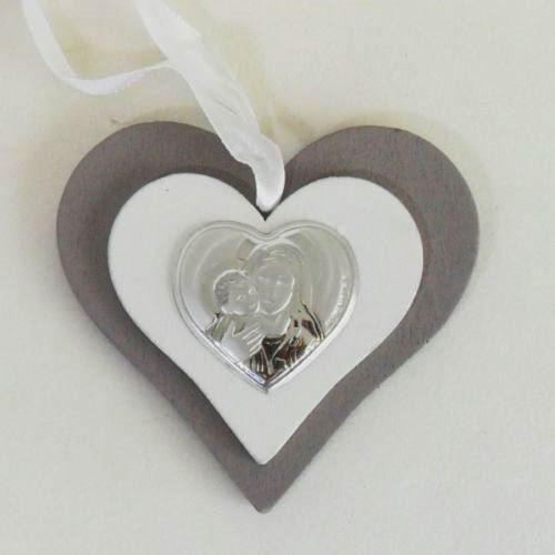 Icona cuore in legno con Madonna completa di scatola