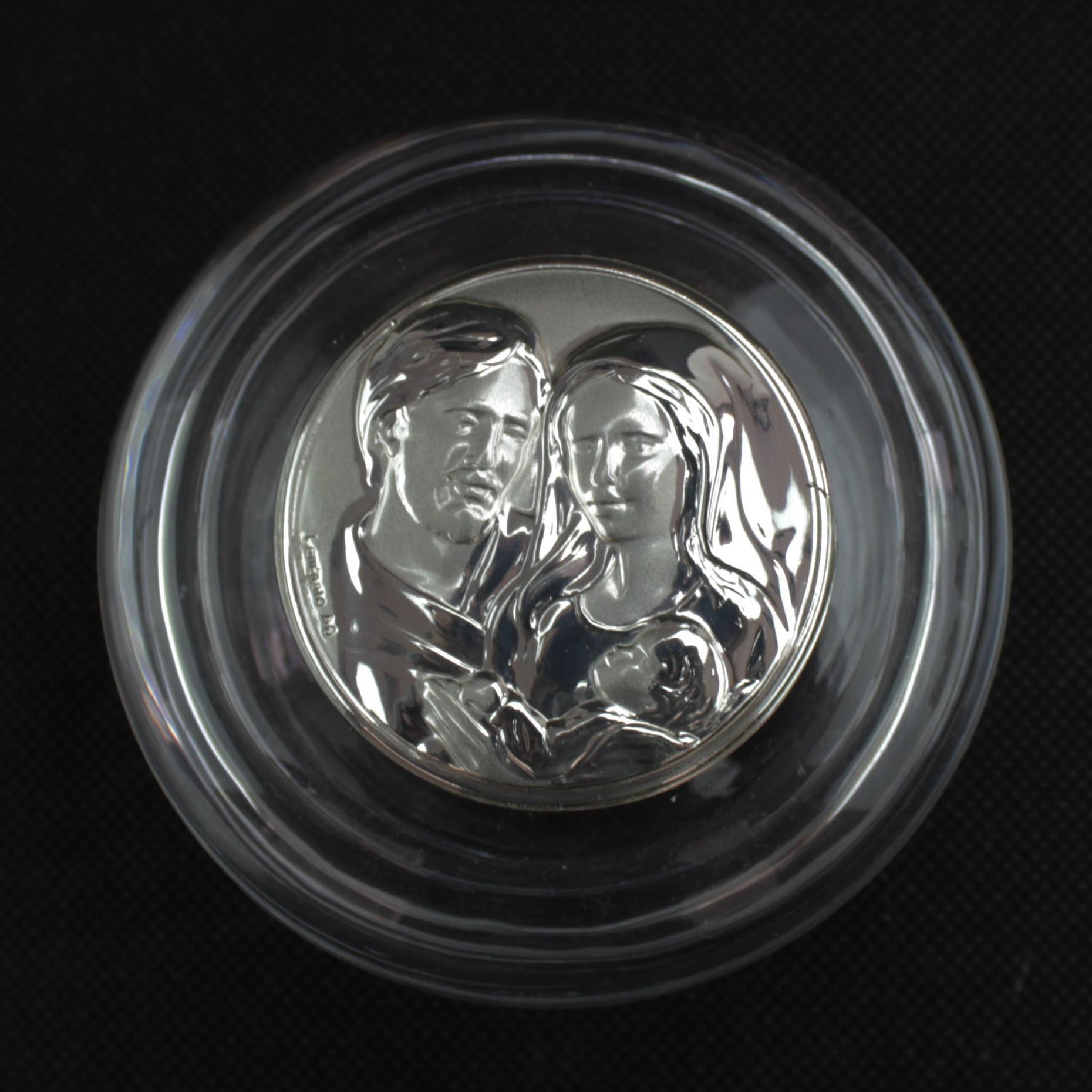 Scatolina tonda portagioie in vetro con Sacra Famiglia