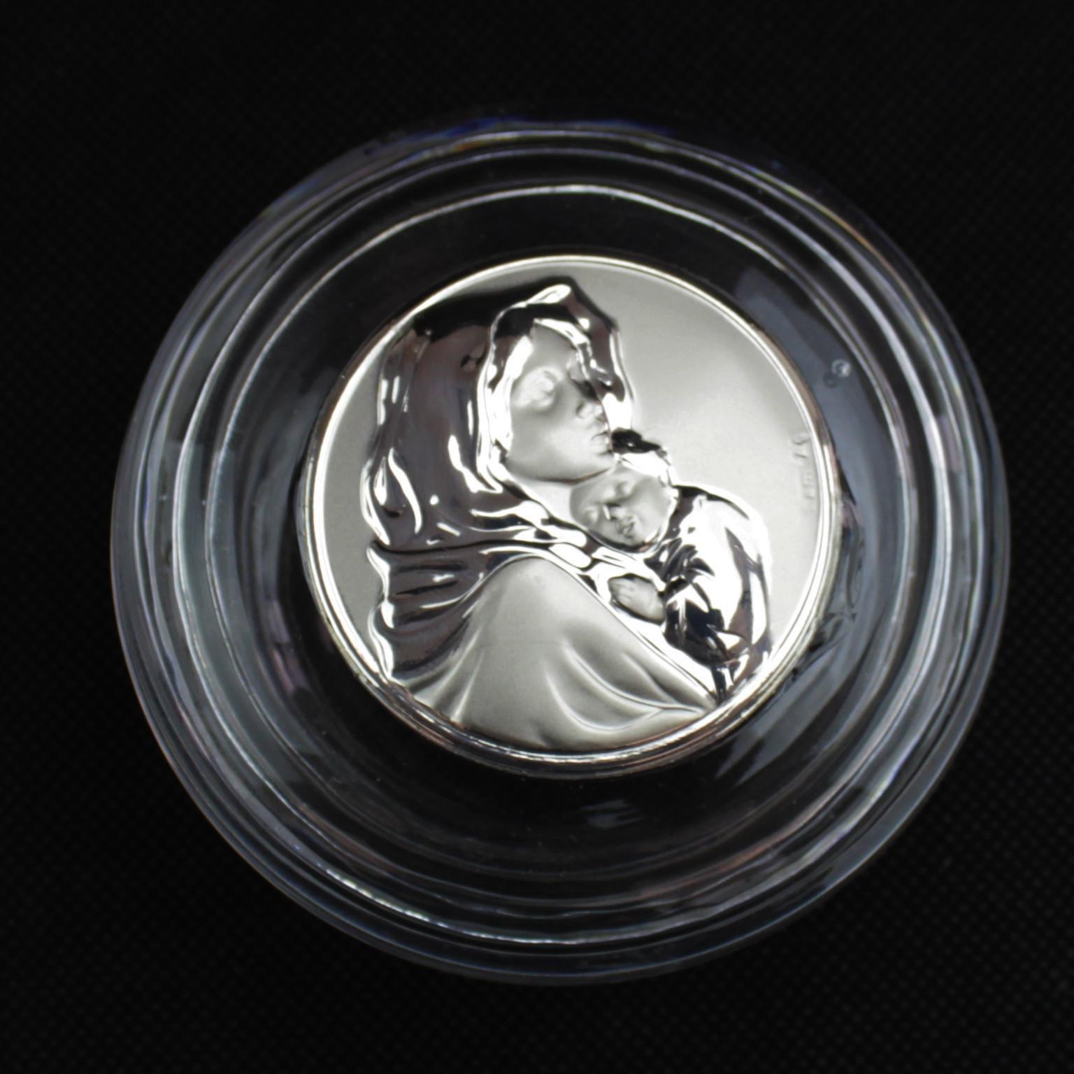 Scatolina tonda portagioie in vetro con Madonna e Bambino