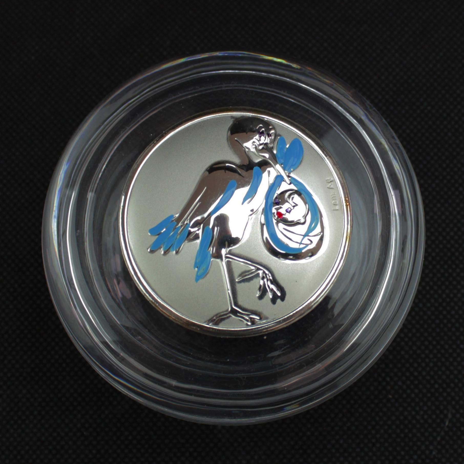 Scatolina tonda portagioie in vetro con Cicogna Blu