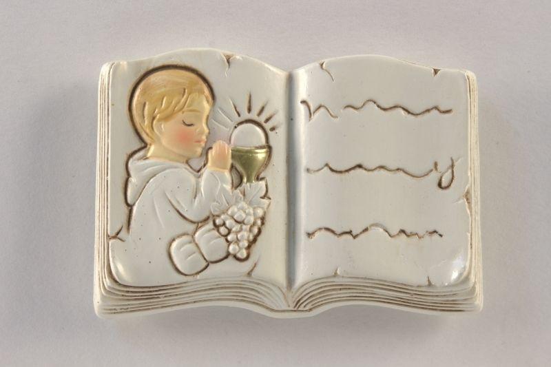 Icona libro bimbo comunione in resina