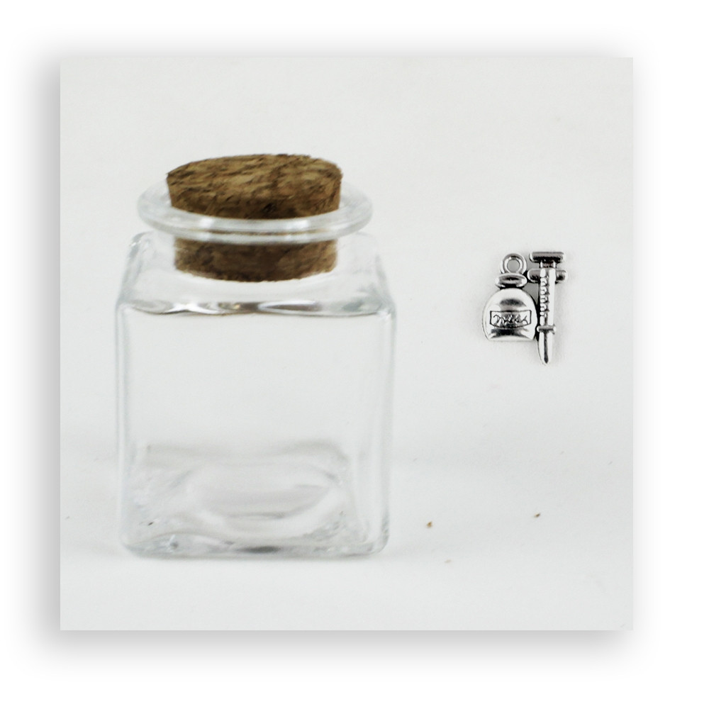 Barattolo in Vetro con Ciondolo Siringa Medicine per Laurea Medicina Infermieristica Porta Confetti