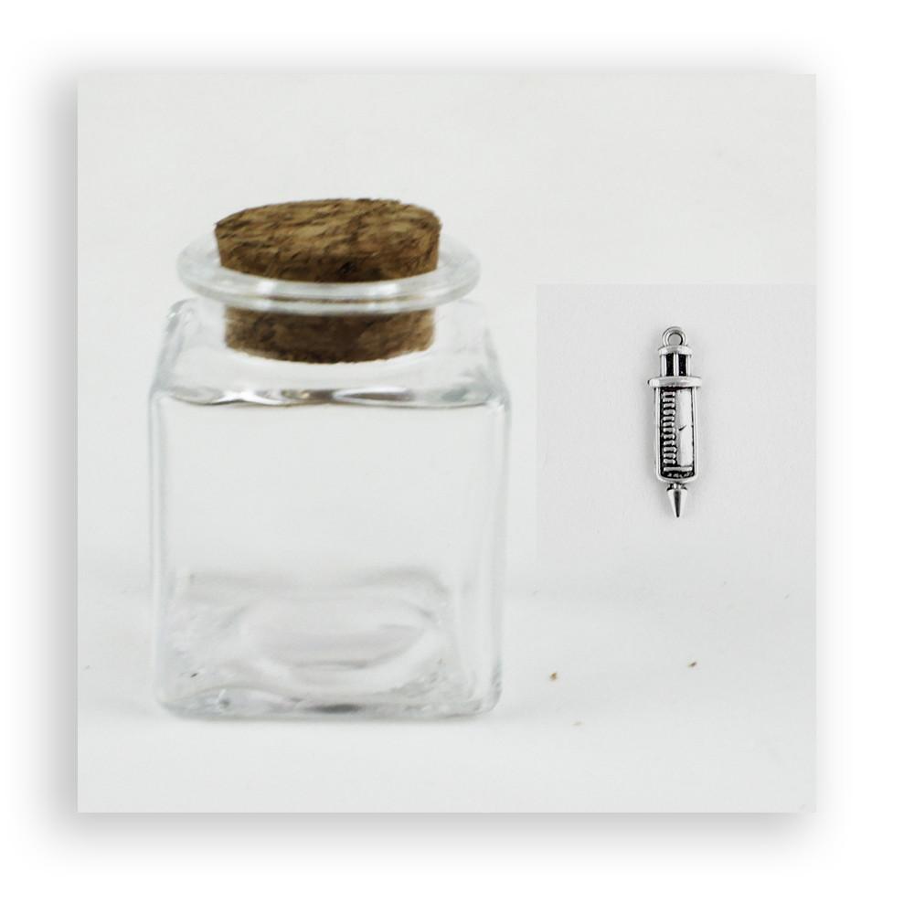 Barattolo in Vetro con Ciondolo Siringa per Laurea Medicina Infermieristica Porta Confetti