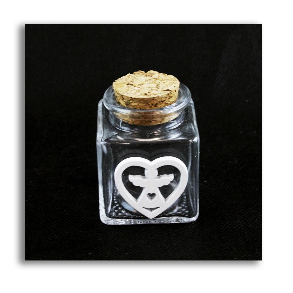 Barattolo in Vetro Icona in Legno Bianco Angelo Angioletto Cuore Porta Confetti