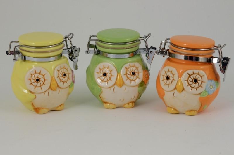 Barattoli gufi in ceramica colori assortiti