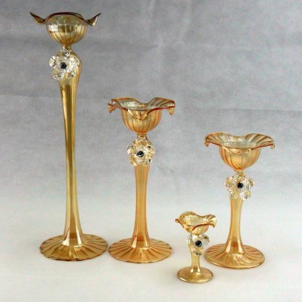 Candeliere in vetro soffiato con fiore in cristallo e scatola