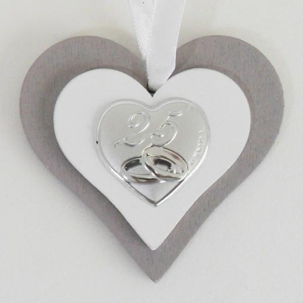 Icona cuore in legno per 25 anniversario di matrimonio completa di scatola