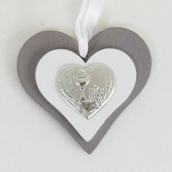Icona cuore in legno con calice comunione completa di scatola