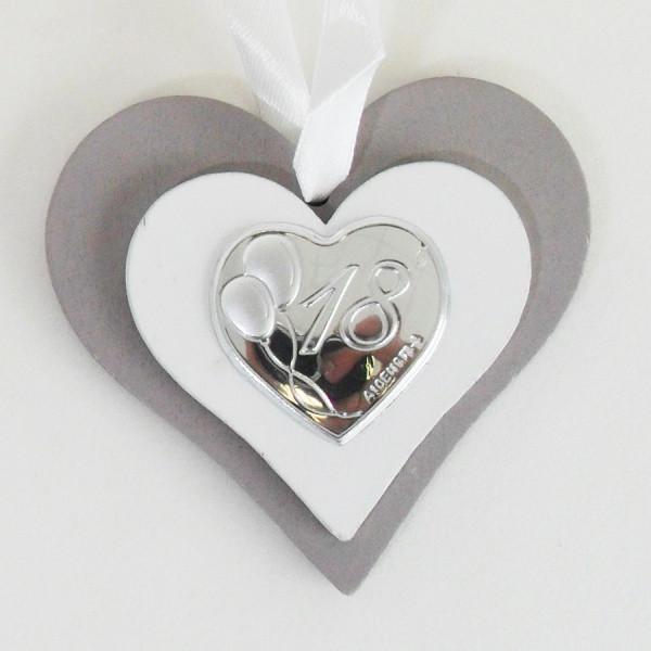 Icona cuore in legno per il 18 compleanno completa di scatola