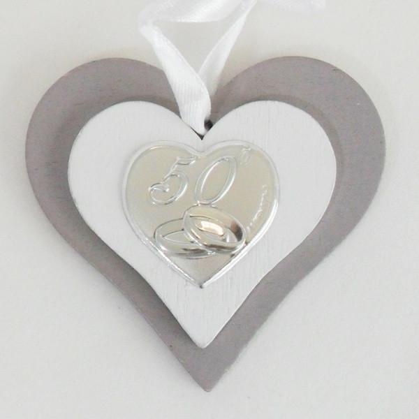 Icona cuore in legno per 50 anniversario di matrimonio completa di scatola
