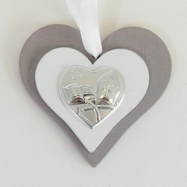 Icona cuore in legno per cresima completa di scatola