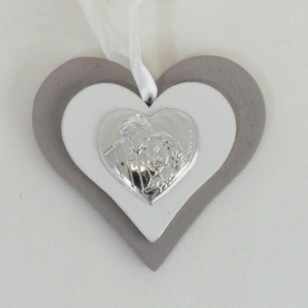 Icona cuore in legno con Sacra Famiglia completa di scatola