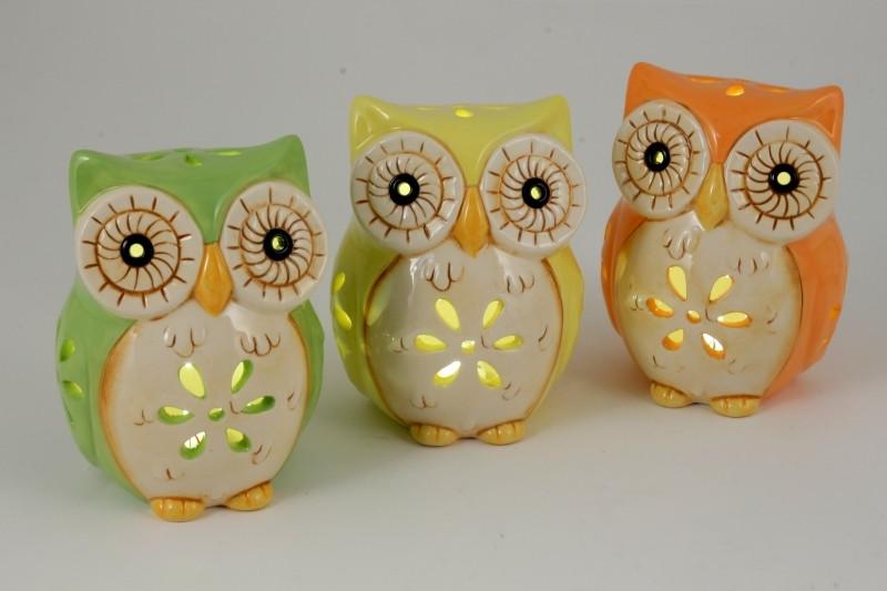 Lampada gufi in ceramica colori assortiti completi di scatola