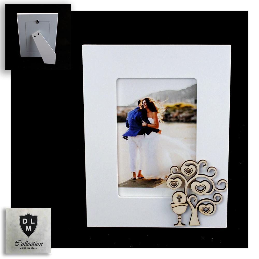 Bomboniera Portafoto Cornice con Albero della Vita e Calice della Prima Comunione in legno Shabby Chic Quadretto