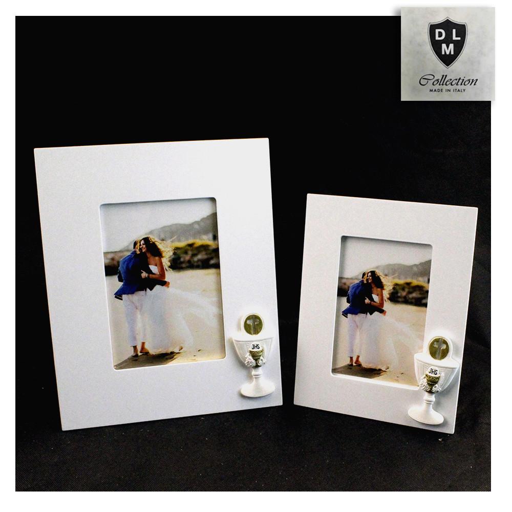 Bomboniera Portafoto Cornice Quadretto Calice della Prima Comunione con Crocifisso Oro in resina