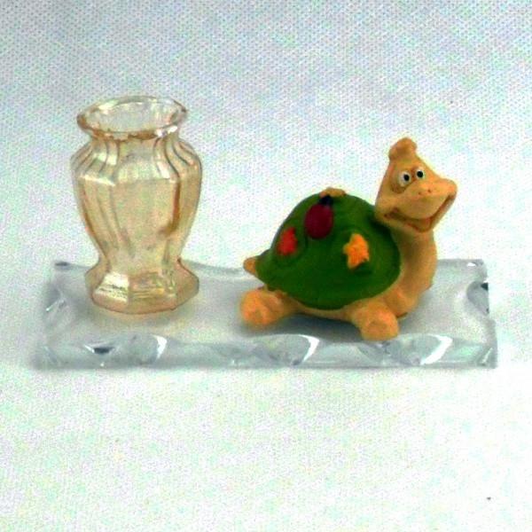 Portapenne con tartaruga e coccinella portafortuna completo di scatola