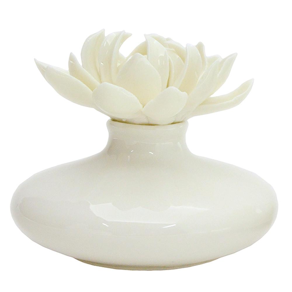 Bomboniera Profumatore ceramica bianca con fiore panna