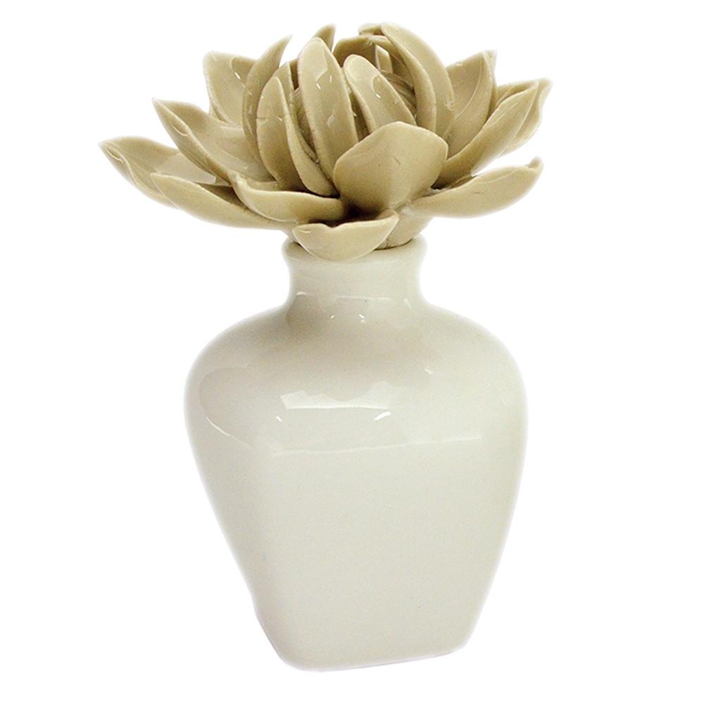 Bomboniera Profumatore ceramica bianca con fiore Tortora