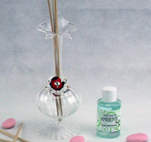 Profumatore in vetro soffiato con fiore in cristallo e scatola