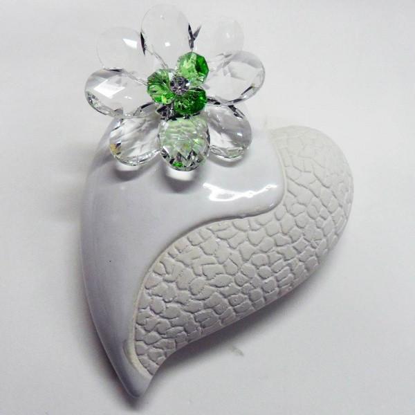 Profumatore cuore grande e fiore in cristallo