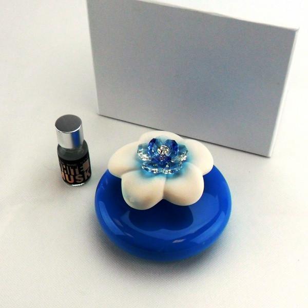 Profumatore in ceramica vari colori completo di scatola e profumo_Azzurro_8x10cm