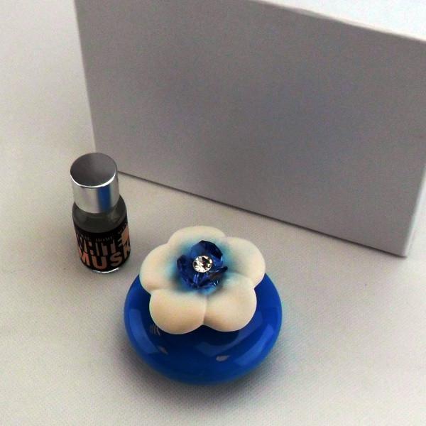 Profumatore in ceramica vari colori completo di scatola e profumo_Azzurro_6,5x6,5cm