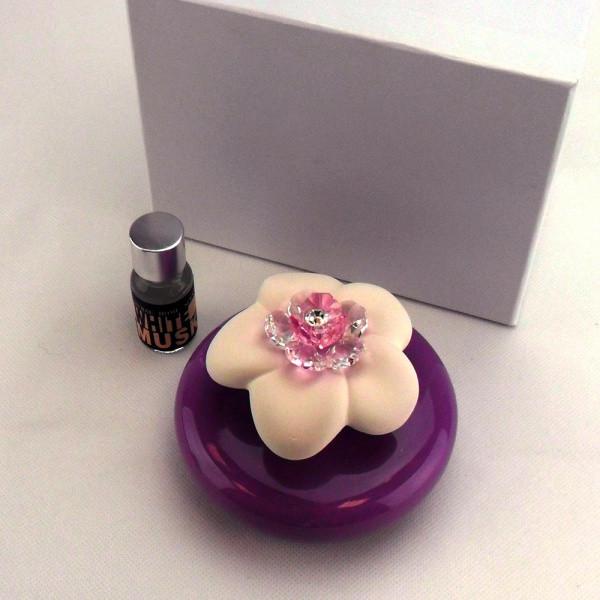 Profumatore in ceramica vari colori completo di scatola e profumo_Glicine_8x10cm