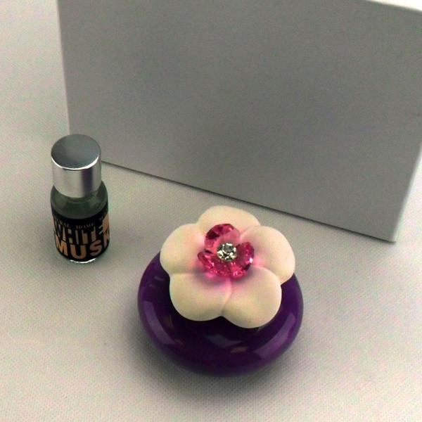 Profumatore in ceramica vari colori completo di scatola e profumo_Glicine_6,5x6,5cm