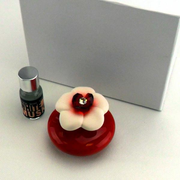 Profumatore in ceramica vari colori completo di scatola e profumo_Rosso_6,5x6,5cm