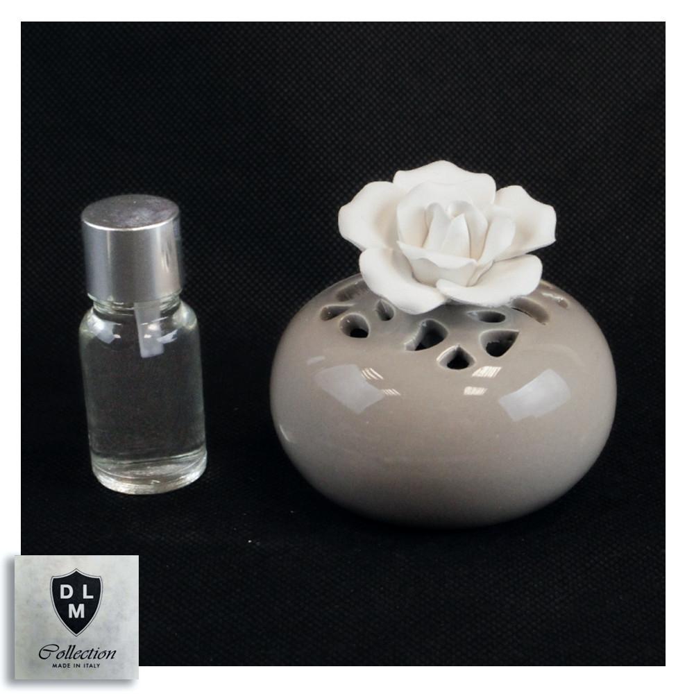 Bomboniera Profumatore Panna Tondo in ceramica con Fiore Bianco Diffusore per Ambienti