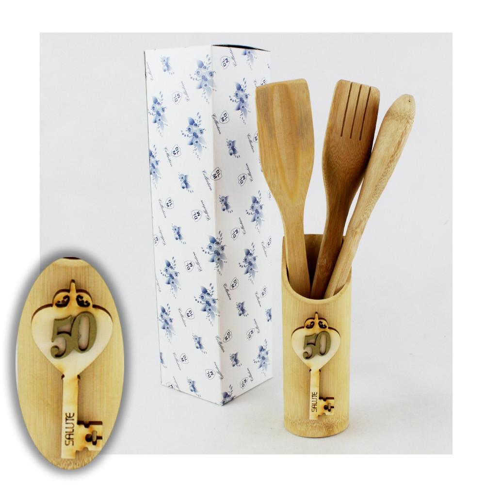 Bomboniera Utile Porta Posate Mestoli in legno Chiave 50 Anniversario Nozze Cucina Shabby Chic