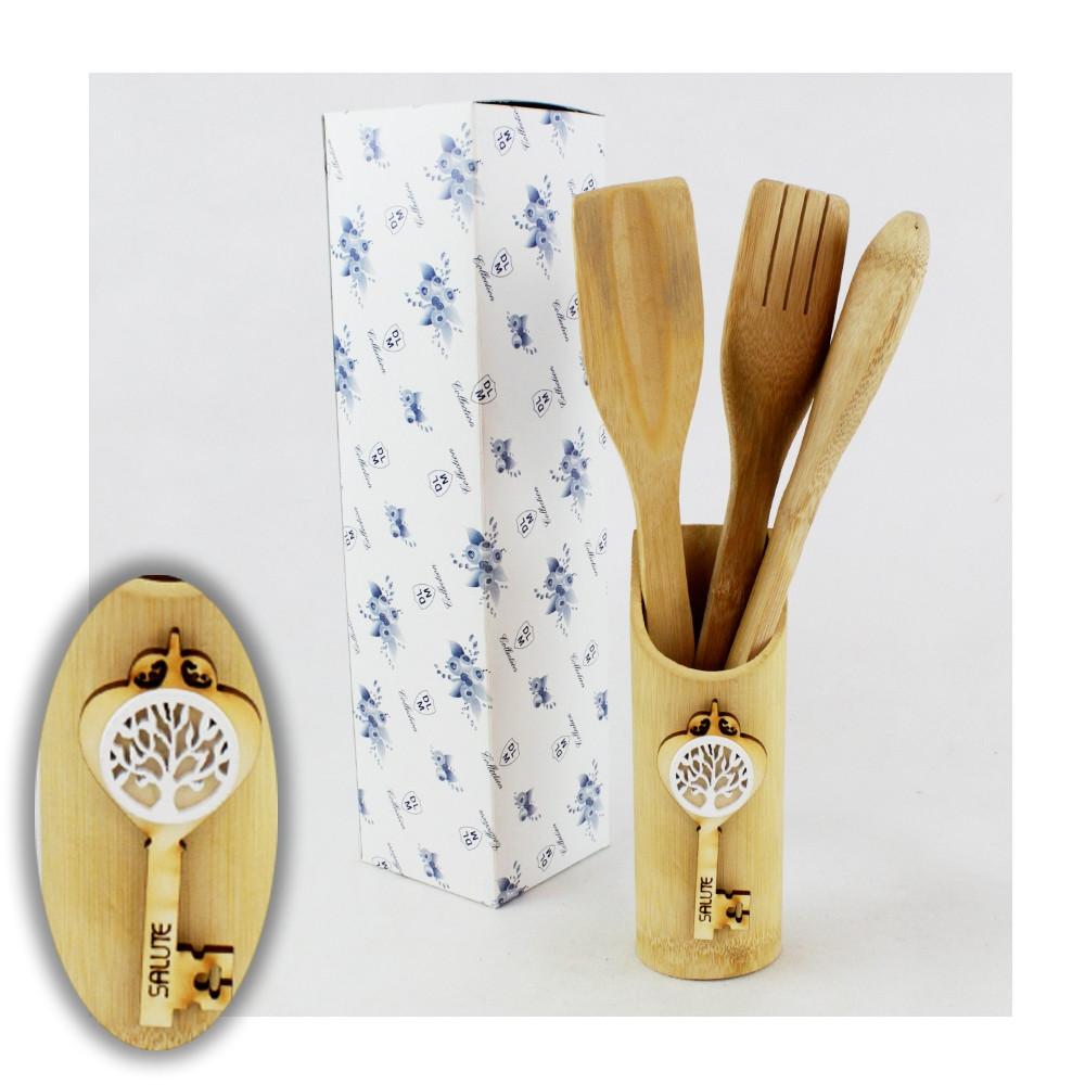 Bomboniera Utile Porta Posate Mestoli in legno Chiave Albero della Vita Bianco Cucina Shabby Chic