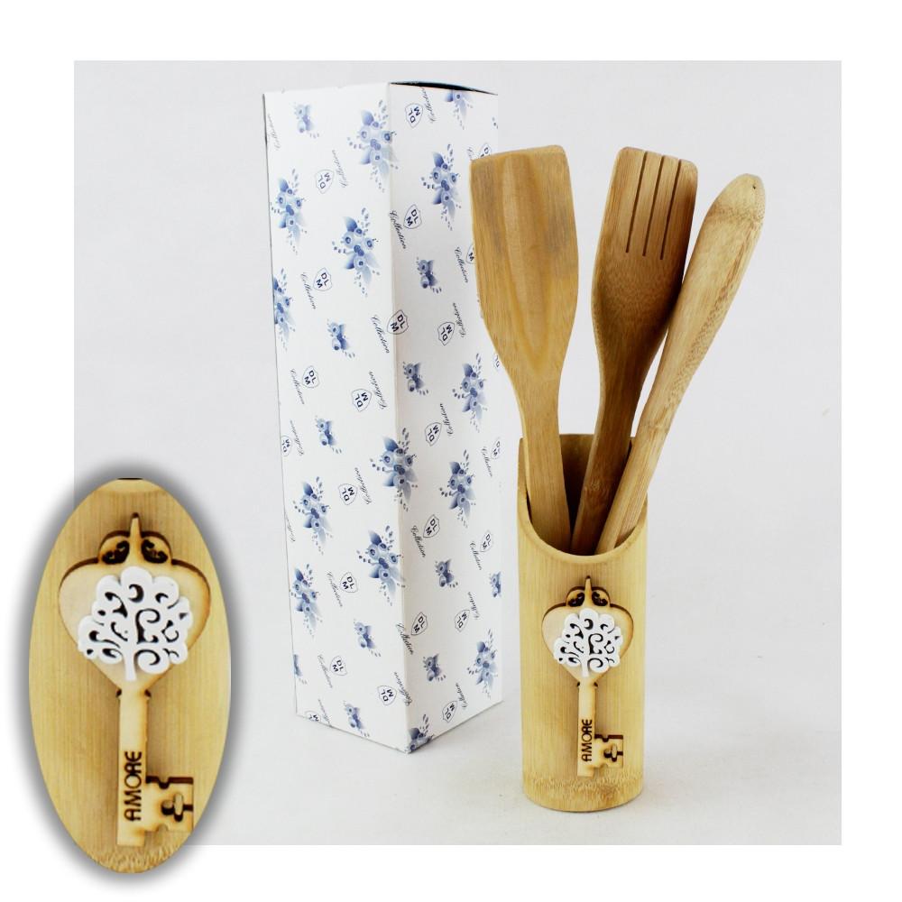 Bomboniera Utile Porta Posate Mestoli in legno Chiave Albero della Vita Cucina Bianco Shabby Chic