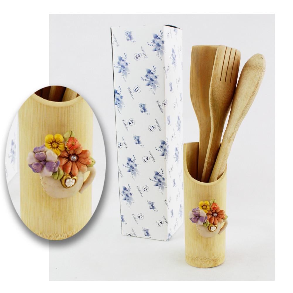 Bomboniera Utile Porta Posate Mestoli in legno Vaso Fiori Cornucopia Cucina Shabby Chic