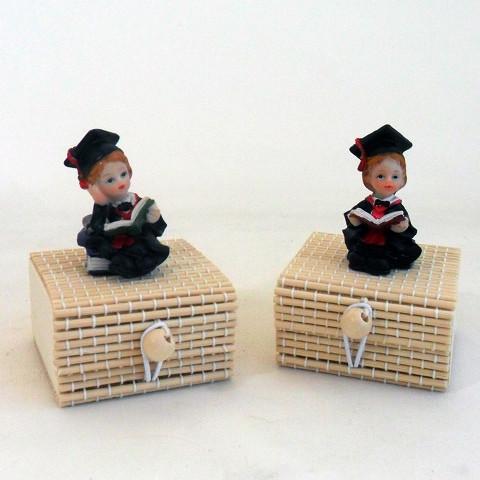 Scatoline in bambu con laureati in resina
