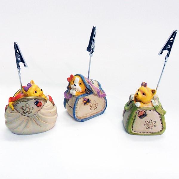 Portafoto borsette con animali in resina