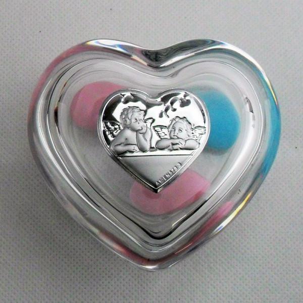 Scatola portagioie a cuore con piastra angeli (kit 6 pezzi)