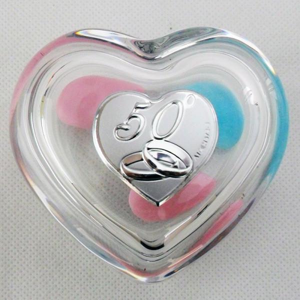 Scatola portagioie a cuore per 50 anniversario di matrimonio (kit 6 pezzi)