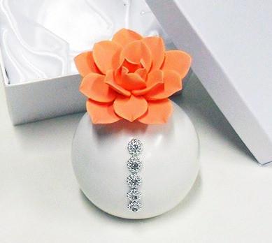 Profumatore in ceramica con punti luce, completo di scatola
