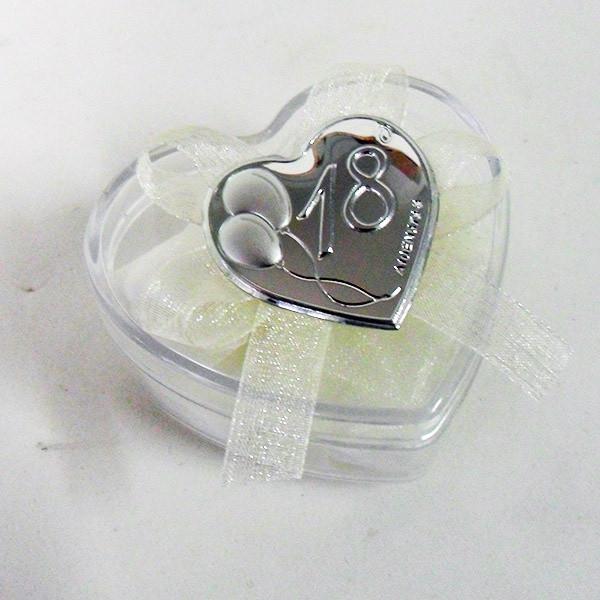Scatolina cuore in plastica rigida con piastra per 18°compleanno