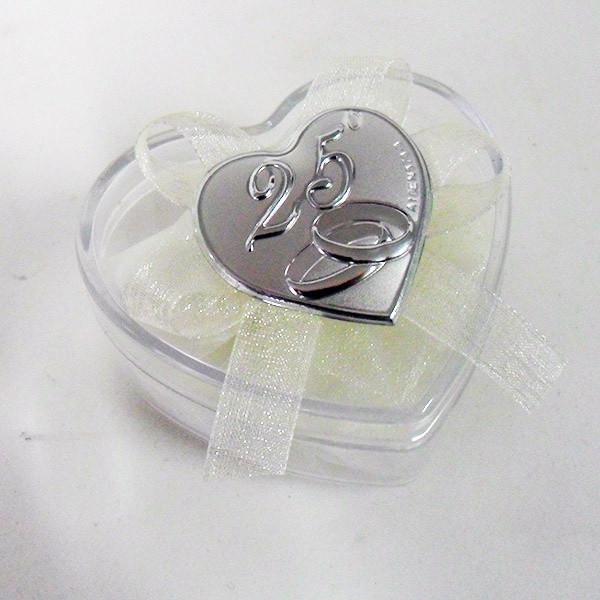 Scatolina cuore in plastica rigida con piastra per 25°anniversario