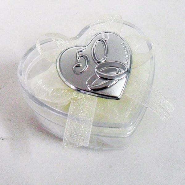 Scatolina cuore in plastica rigida con piastra per 50°anniversario