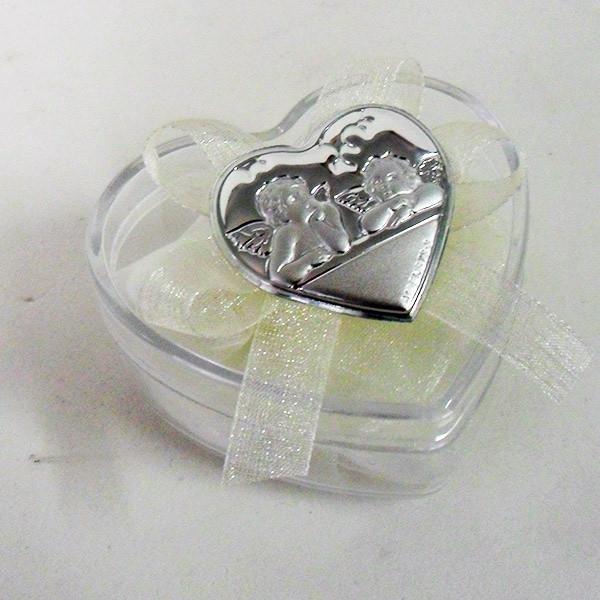 Scatolina cuore in plastica rigida con piastra degli Angeli