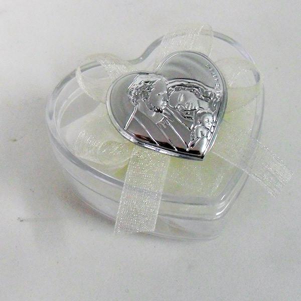Scatolina cuore in plastica rigida con piastra della Sacra Famiglia