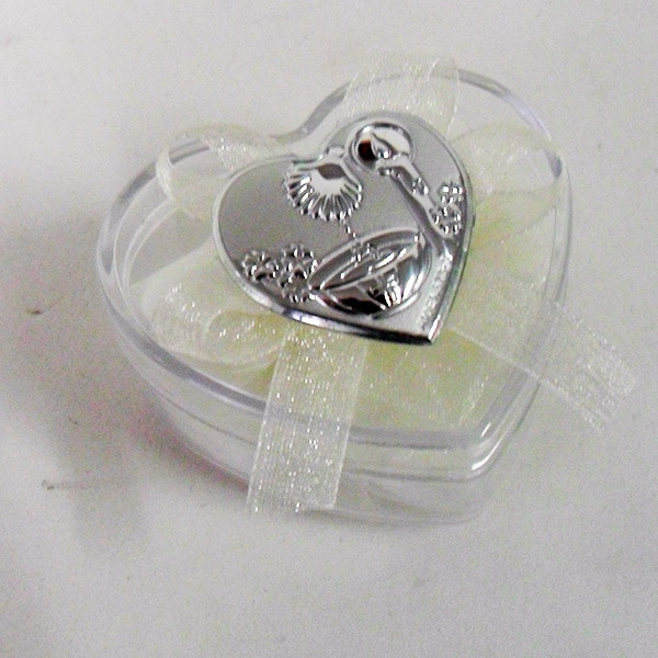 Scatolina cuore in plastica rigida con piastra per battesimo