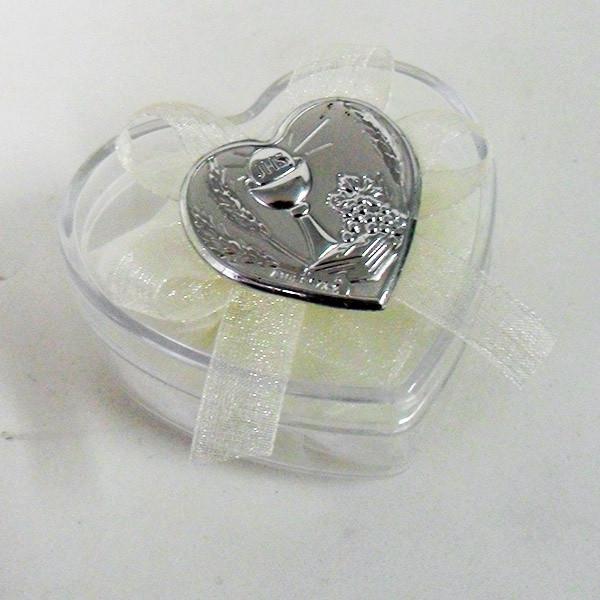 Scatolina cuore in plastica rigida con piastra per comunione