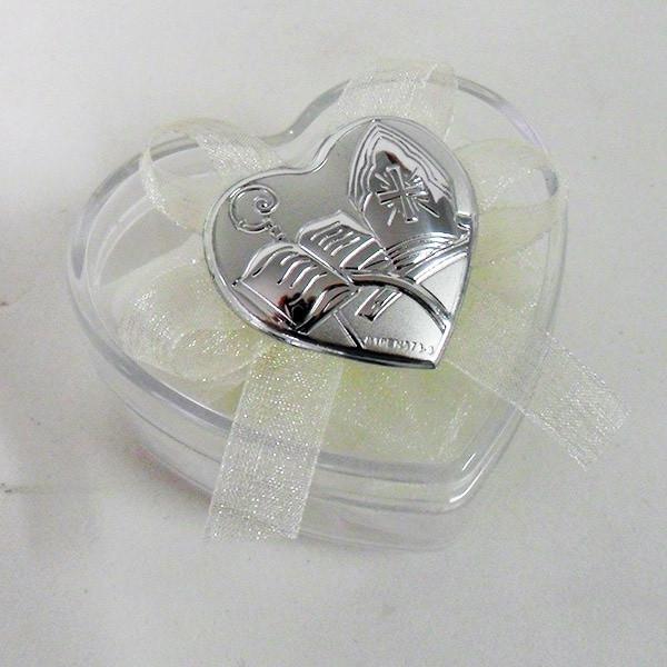 Scatolina cuore in plastica rigida con piastra per cresima