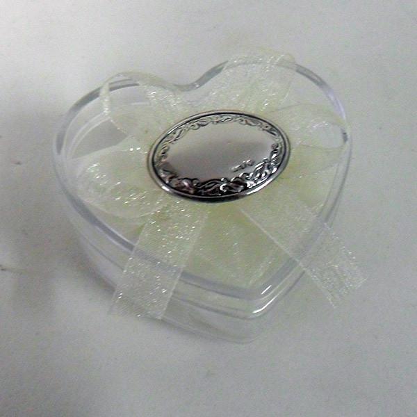 Scatolina cuore in plastica rigida con piastra ovale