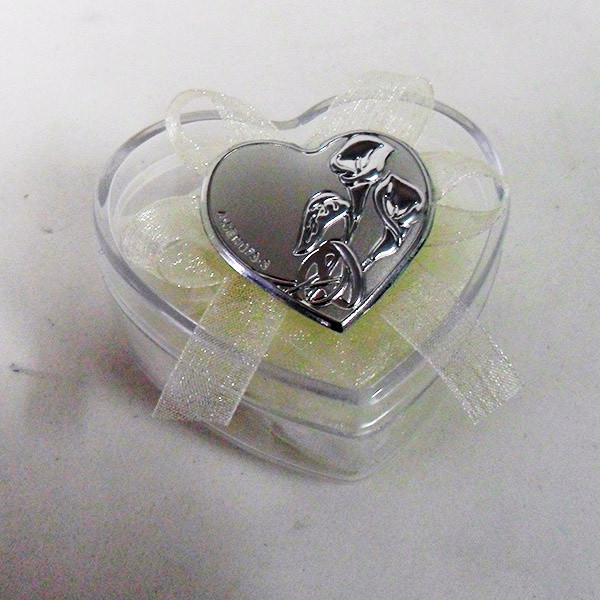 Scatolina cuore in plastica rigida con piastra per matrimonio e anniversario